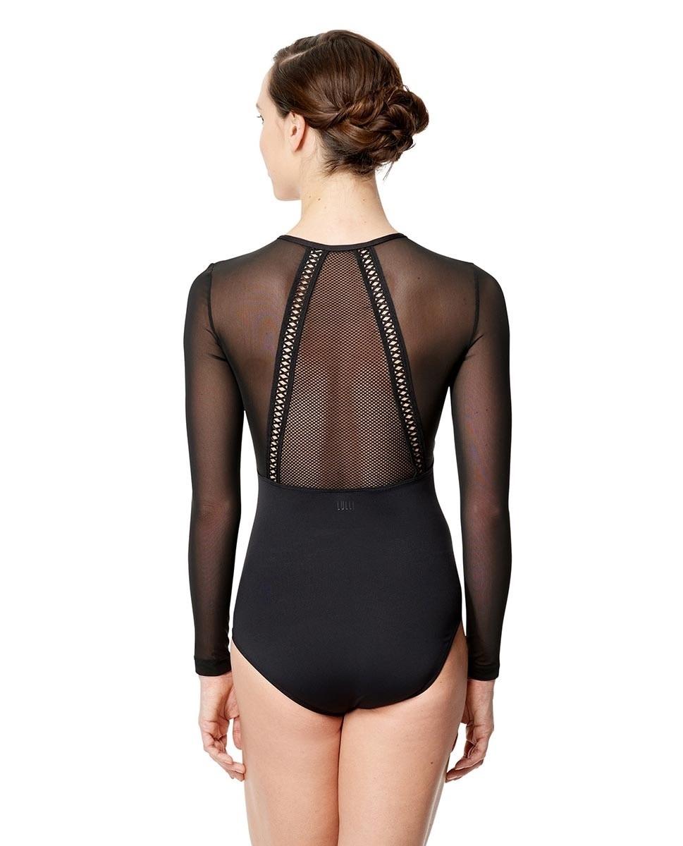 Lulli Dancewear LUF596-Simona Mesh Long Sleeve Leotard-BLACK