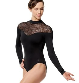 Lulli Dancewear LUF574-Carol Flocked Mesh Long Sleeve Mock Neck Leotard-BLACK