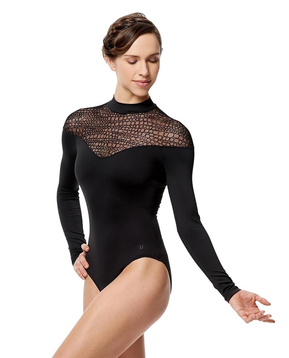 Lulli Dancewear LUF574-Carol Flocked Mesh Long Sleeve Mock Neck Leotard-BLACK-XS
