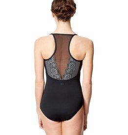 Lulli Dancewear LUF599-Yoana Lace Camisole Dance Leotard-BLACK-GREY