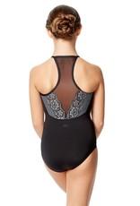Lulli Dancewear LUF599C-Yoana Lace Camisole Dance Leotard-BLACK-GREY-14
