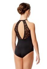 Lulli Dancewear LUF579C-Agnese Flocked Mesh Halter Neck Leotard-BLACK
