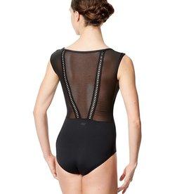 Lulli Dancewear LUF593-Priscila Mesh Cap Sleeve Dance Leotard-BLACK
