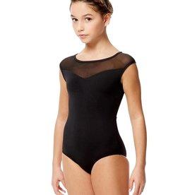 Lulli Dancewear LUF593C-Priscila Mesh Cap Sleeve Dance Leotard-BLACK