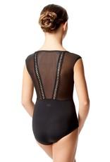 Lulli Dancewear LUF593C-Priscila Mesh Cap Sleeve Dance Leotard-BLACK-10