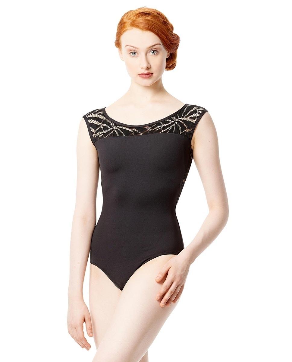 Lulli Dancewear LUF562C-Aitana Cap Sleeve Geo Mesh Dance Leotard-BLACK
