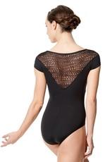 Lulli Dancewear LUF571-Milene Flocked Mesh Short Sleeve Leotard