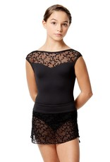 Lulli Dancewear LUF581C-Belinda Flocked Mesh Pull On Skirt -BLACK