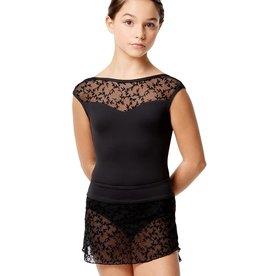 Lulli Dancewear LUF581C-Belinda Flocked Mesh Pull On Skirt -BLACK