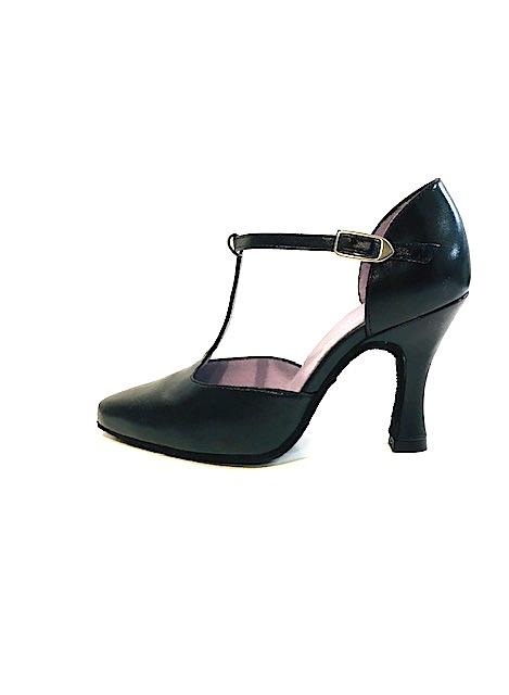 "Merlet LARA-1300-001-Ballroom Shoes 3"" Suede Sole Metis Leather-BLACK"