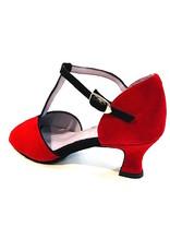 Merlet KATE1-1404-292-Ballroom Shoes 2'' Suede Sole Velvet-CHERRY