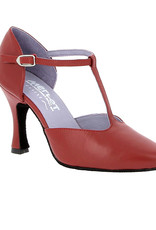 "Merlet LARA-1300-233-Ballroom Shoes 3"" Suede Sole Metis Leather-CHERRY"