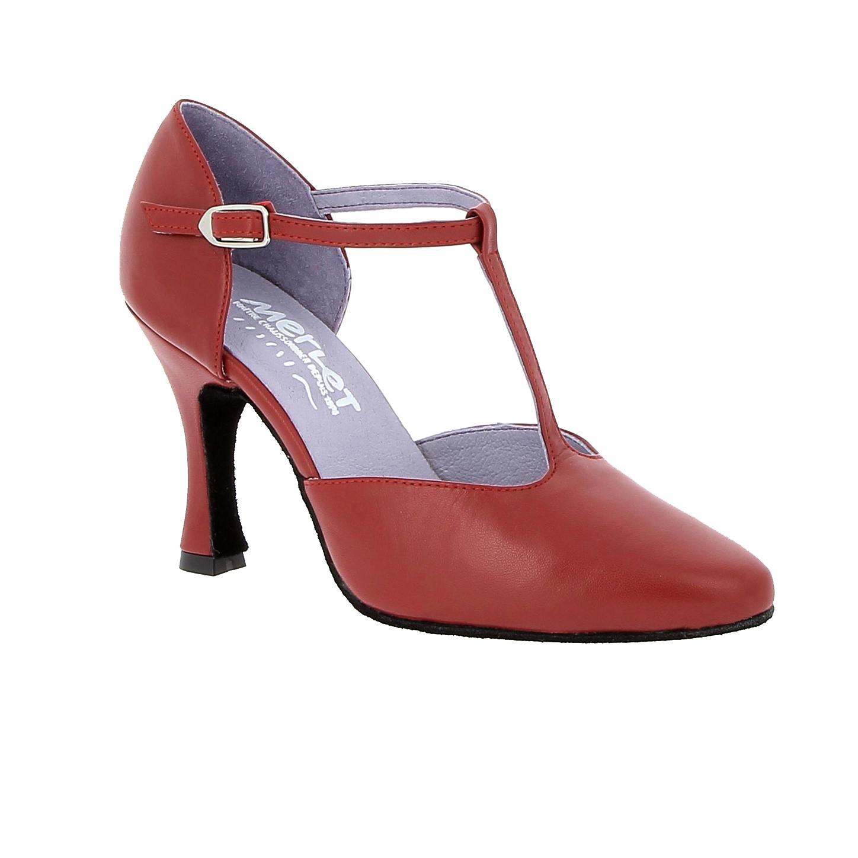 "Merlet LARA-1300-233-Ballroom Shoes 3"" Suede Sole Metis Leather-CHERRY"