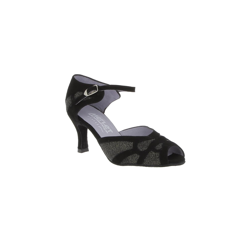 """Merlet SAMUELA-1404-085-Ballroom Shoes 2.5"""" Suede Sole Velvet/Light Leather-BLACK/GOLD"""