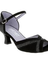 Merlet KALY-1404-001-Ballroom Shoes 2'' Suede Sole Velvet-BLACK/SILVER