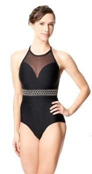 Lulli Dancewear LUF590-Embroidered Mesh Halter Neck Leotard-BLACK