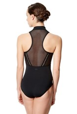 Lulli Dancewear LUF595-Mesh Mock Neck Dance Leotard Rufina Microfiber-BLACK