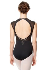 Lulli Dancewear LUF567-Mesh Cap Sleeve Dance Leotard Marcela Microfiber-BLACK