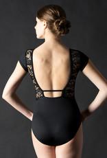 MotionWear 2083-504-Striped Insert Open Back Cap Sleeve Leotard-BLACK