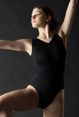 MotionWear 4499-504-V-Neck Overlay Panel Tank Leotard-BLACK