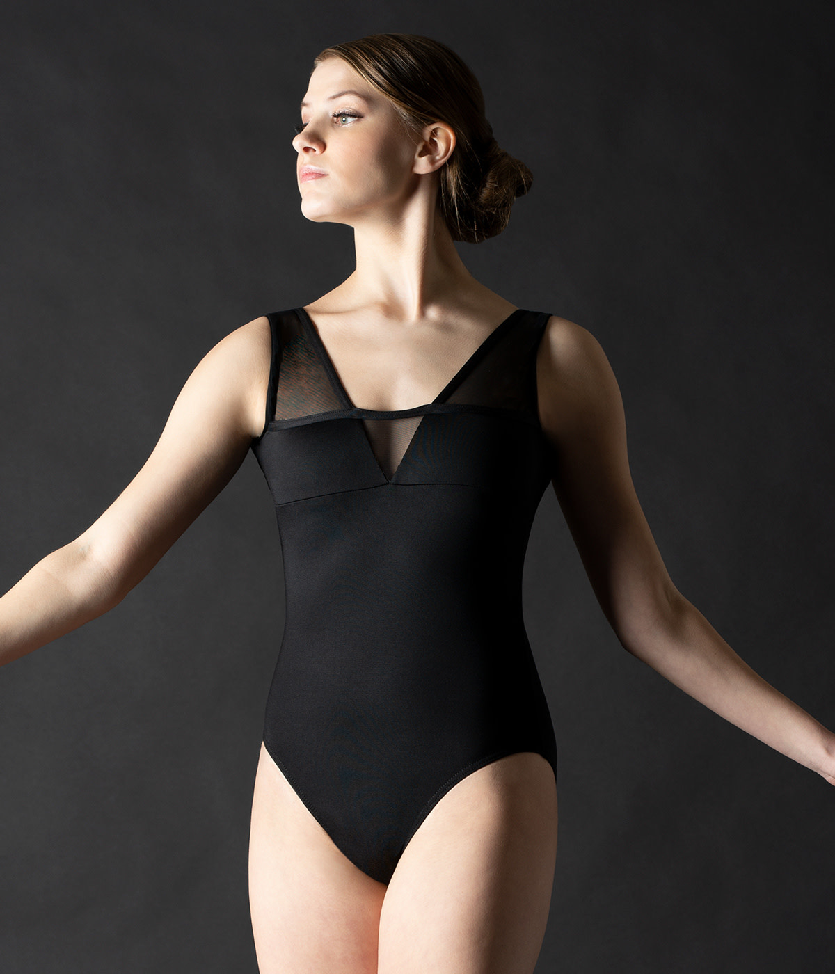 MotionWear 2458-Front Inset V-Back Tank Leotard
