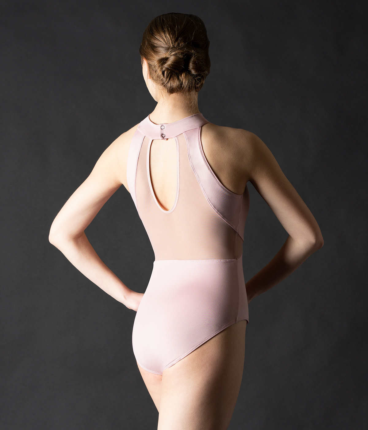 MotionWear 2314-Triple Inset Keyhole Back Mock Neck Leotard