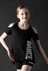 MotionWear 4343-17-Dance Glitter Black Cold Shoulder Top