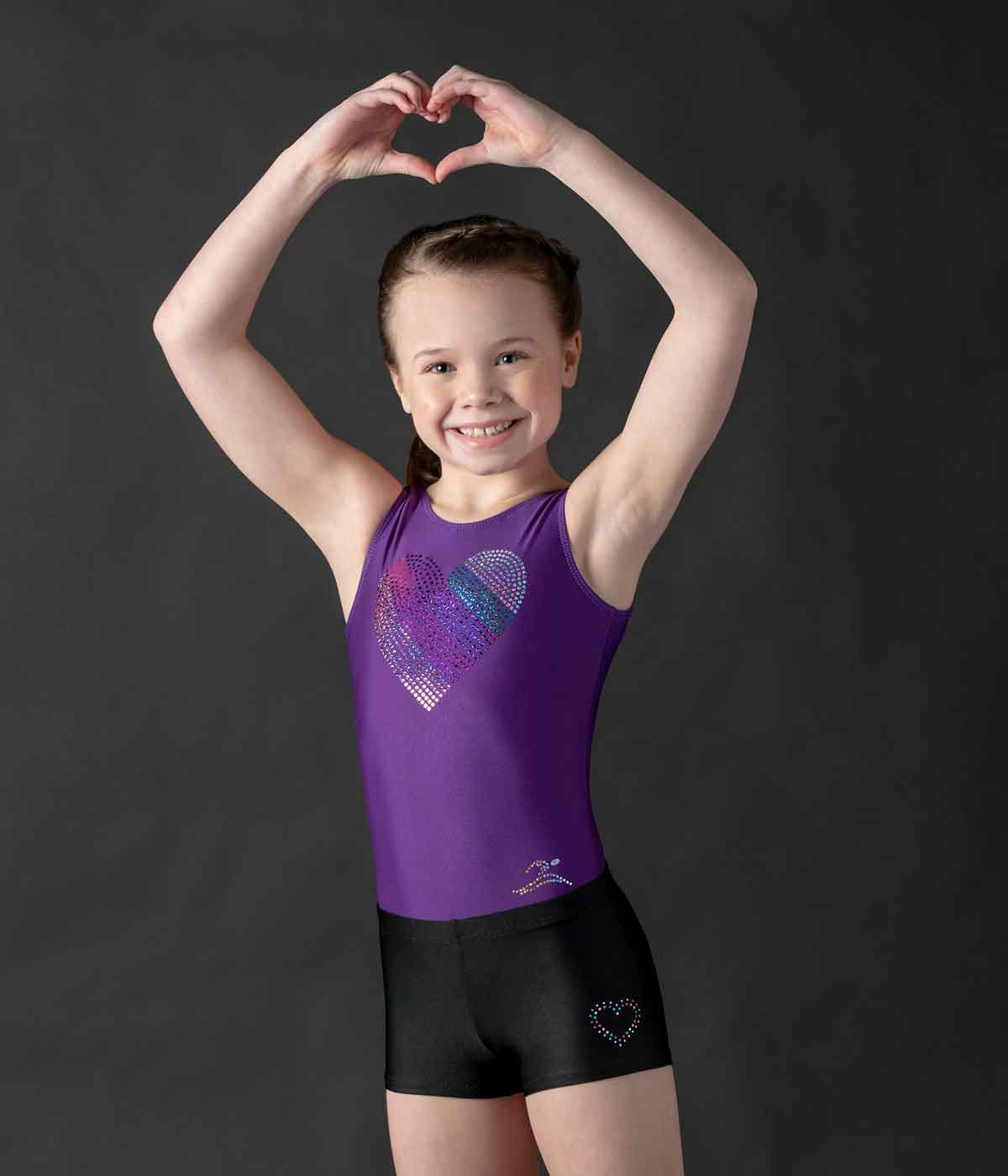MotionWear 1702-474-Spangle Heart Gym Leotard