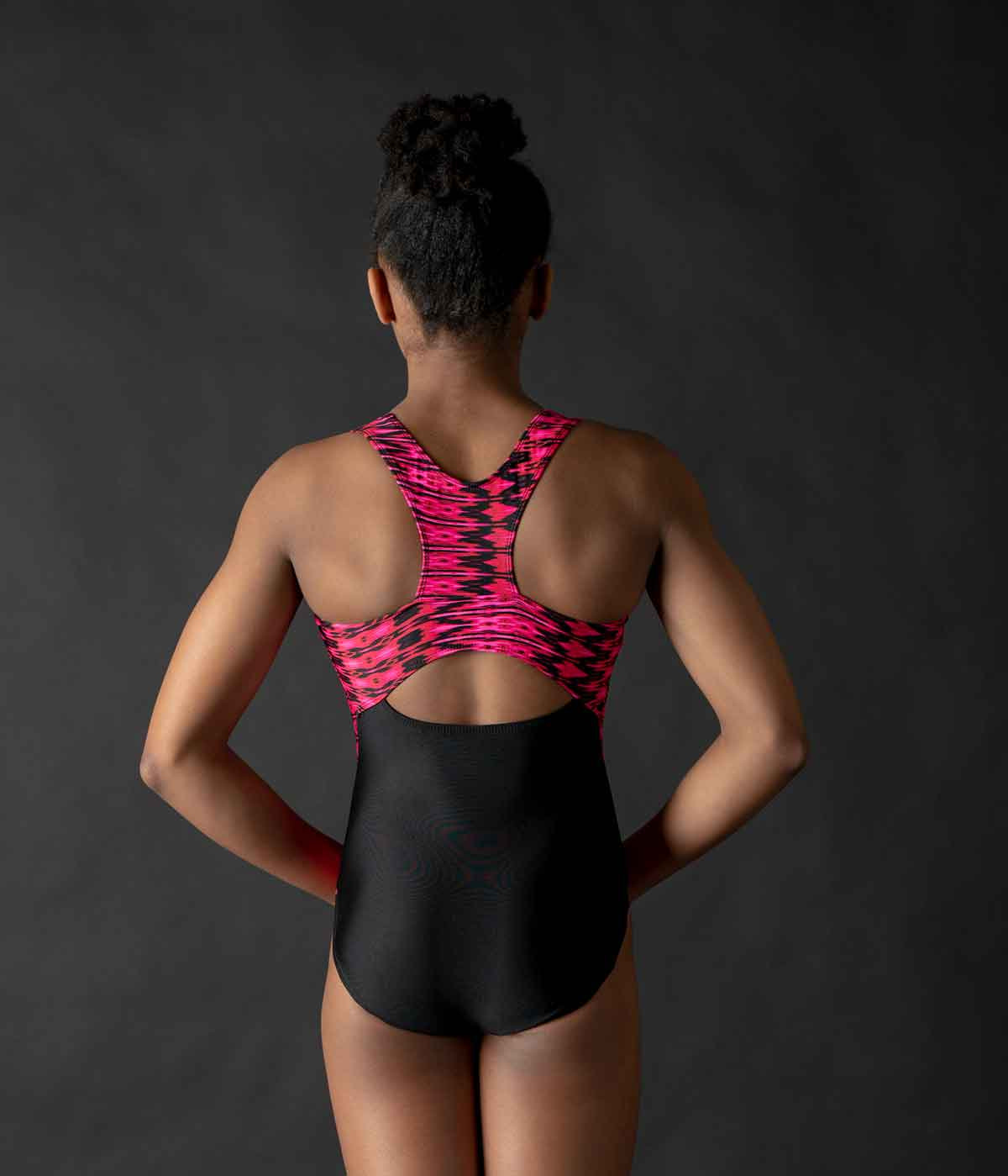 MotionWear 1389-923-Racerback Side Strips Gym Leo-HEATIN' UP