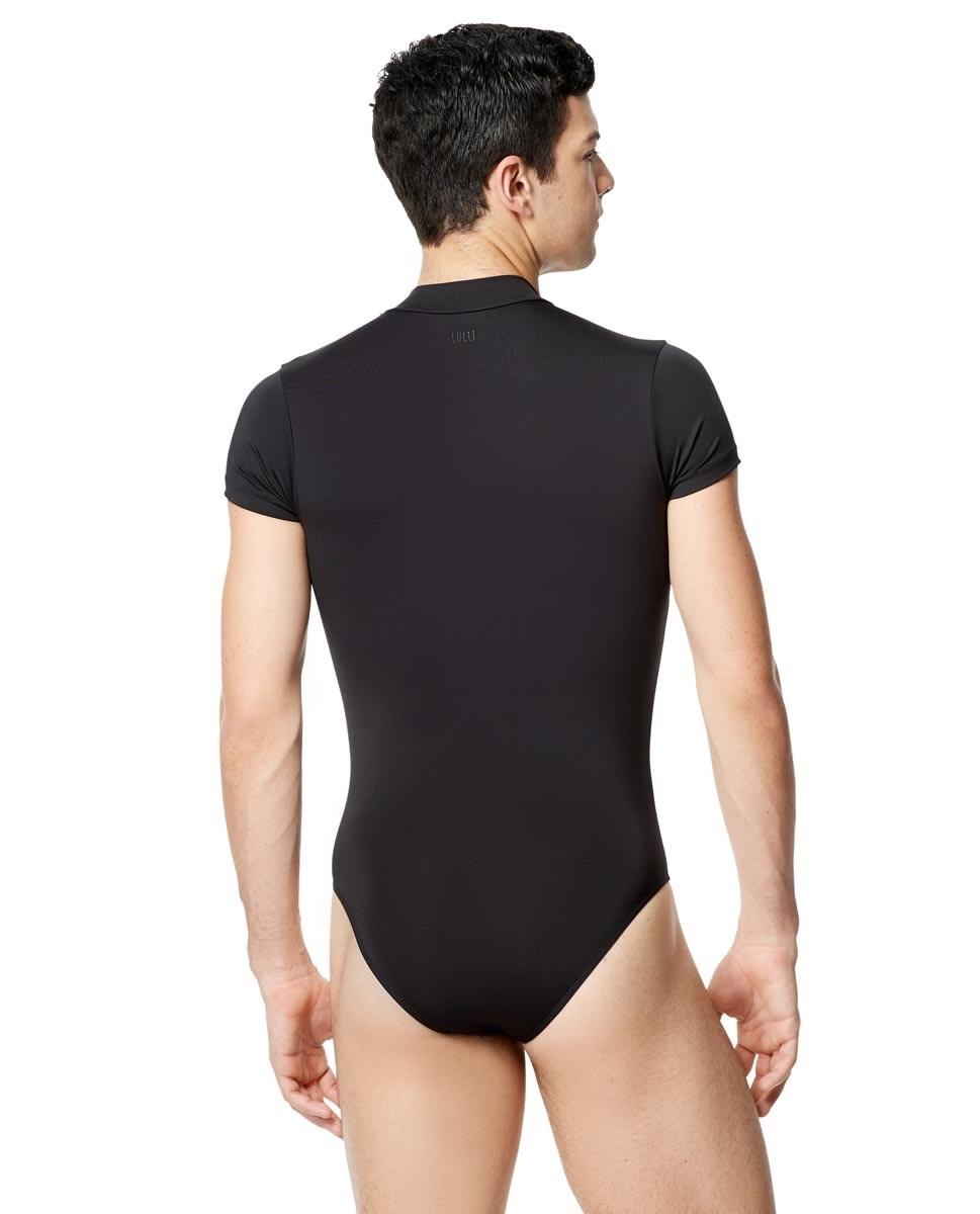 Lulli Dancewear LUB303M-Mens Microfiber Zip Front Short Sleeve Leotard Eddie-BLACK MEDIUM