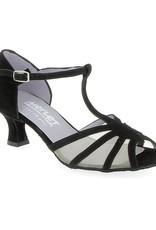 Merlet KARMINA-1404-001-Ballroom Shoes 2'' Suede Sole Velvet-BLACK