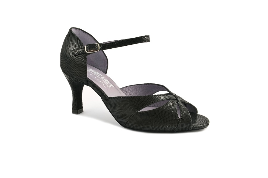"""Merlet SAPHIR-1388-001-Ballroom Shoes 2.5"""" Suede Sole Canaula Leather-BLACK"""