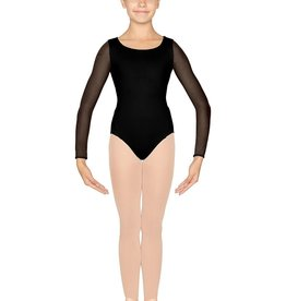 Bloch CL4809-Placement Flock Mesh Open Back Long Sleeve Leotard-BLACK-6X7