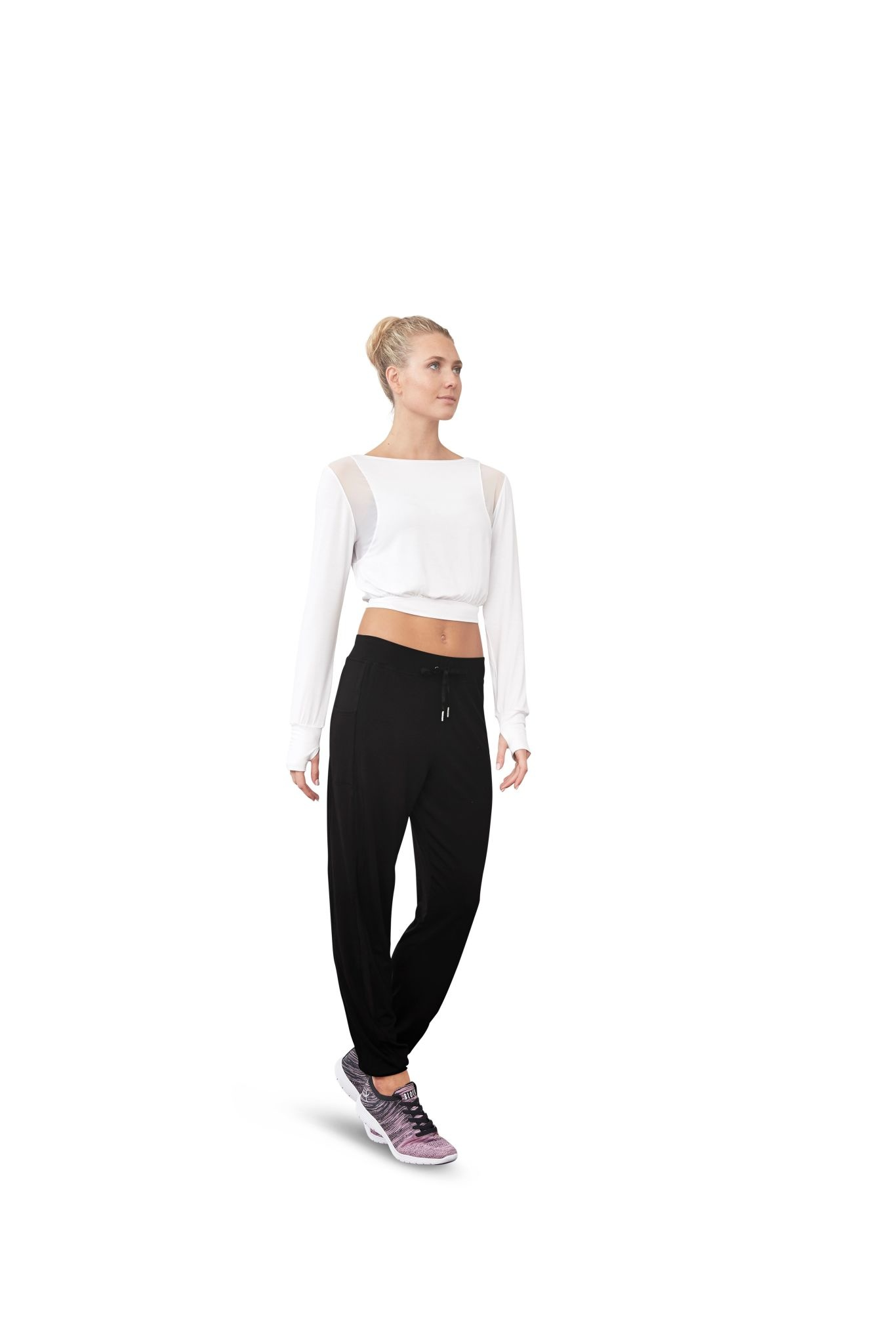 Bloch FT5157-Mesh Panel Boat Neck Cropped Long Sleeve Top-WHITE