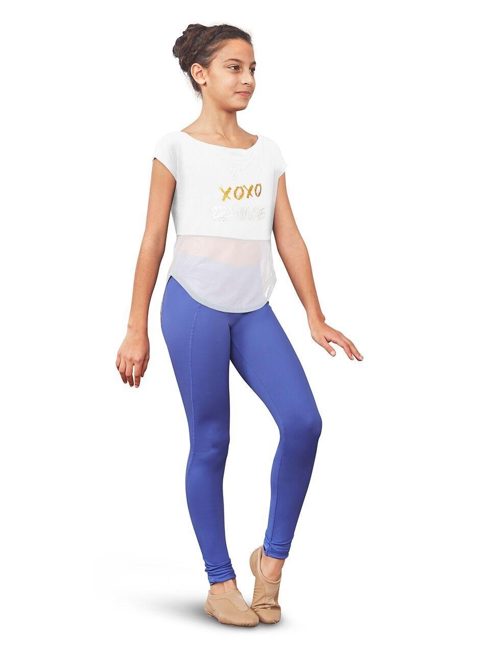Bloch FT5175C-T-shirt Dos Ouvert en Mesh Imprimé - BLANC