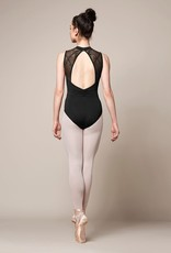 Mirella M3072LM-High Neckline Mesh Panel Open Back Leotard