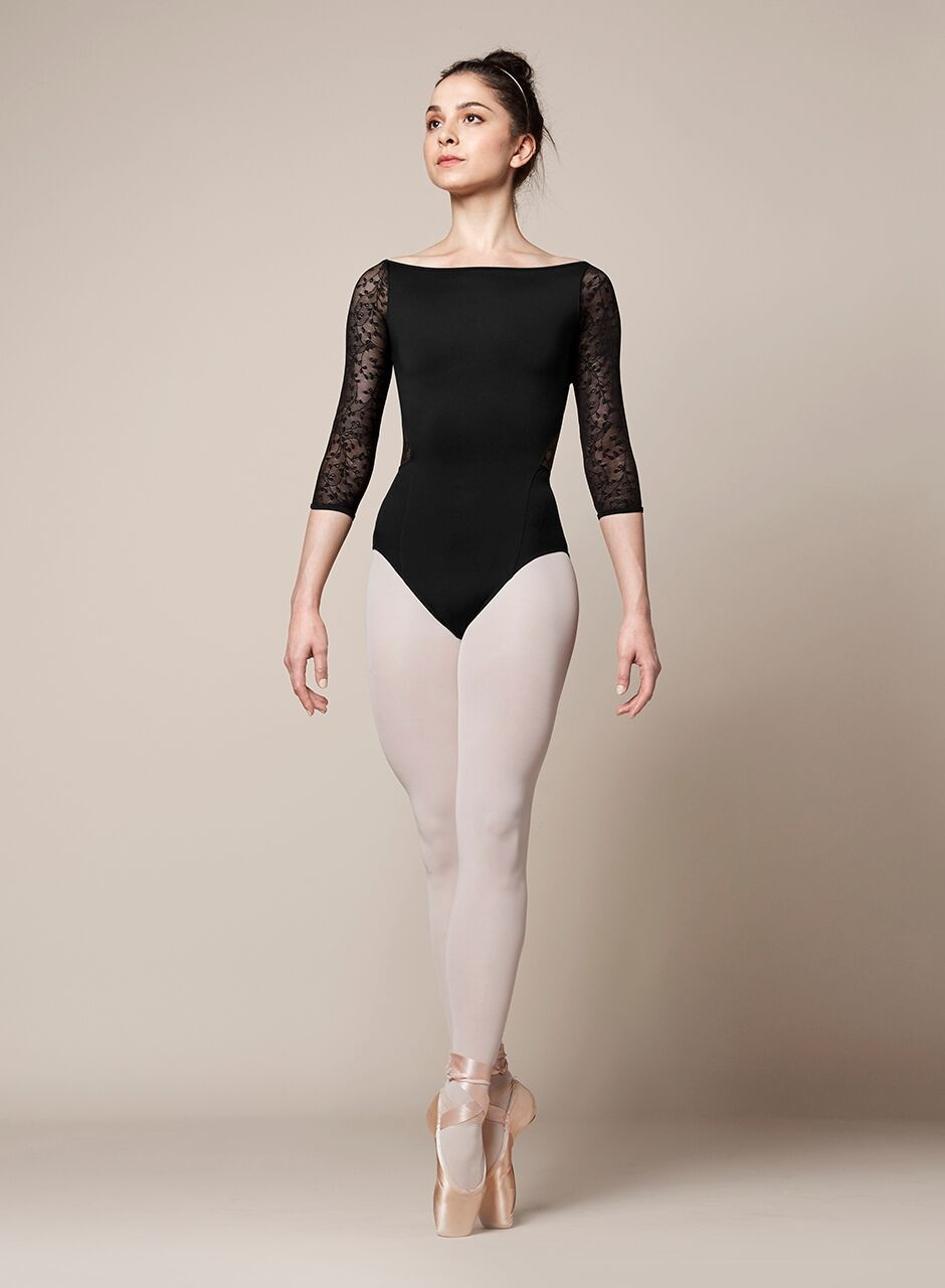 Mirella M1013LM-Wide Neckline 3/4 Sleeve Leotard-BLACK-LARGE