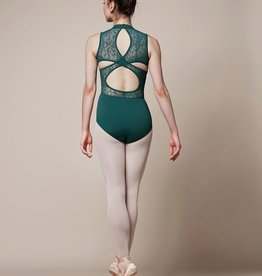 Mirella M3070LM-High Neck Lace Cross Over Back Tank Leotard