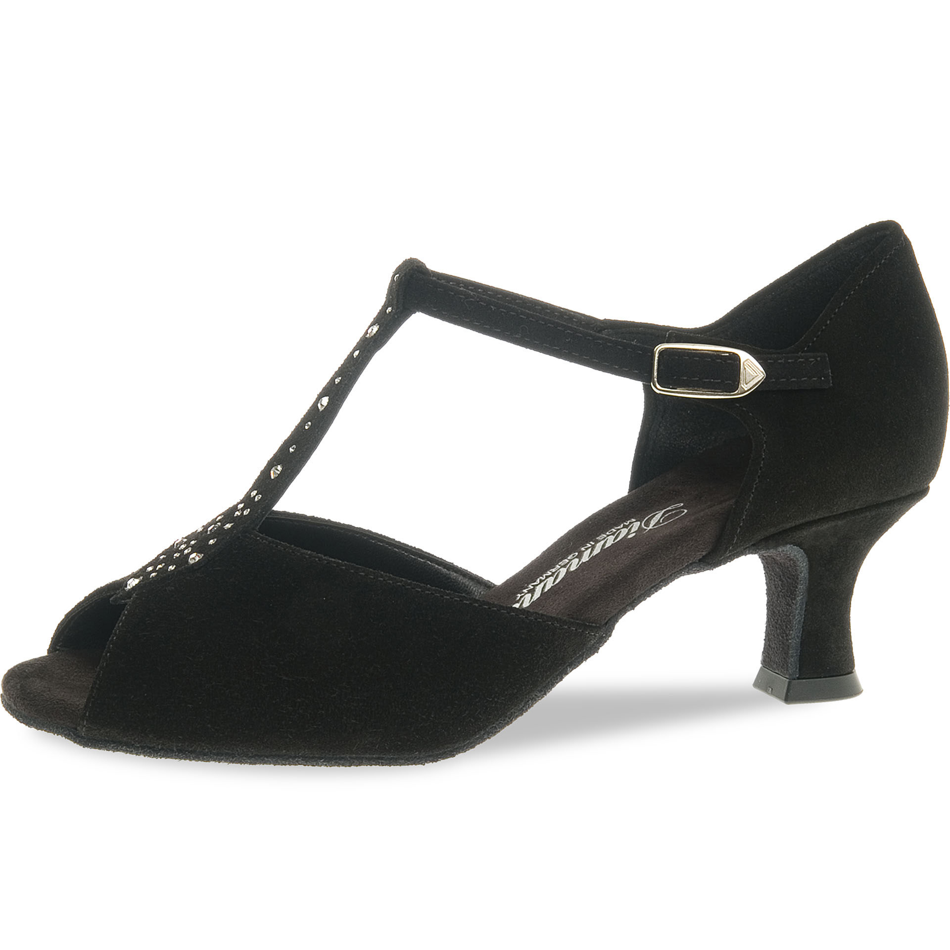 Diamant 010-064-101-Ballroom Shoes 2'' Suede Sole Rhinestones-BLACK SUEDE