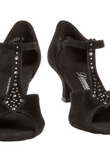 Diamant 010-060-101-Ballroom Shoes 2.5'' Suede Sole Rhinestones-BLACK SUEDE