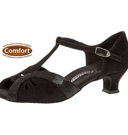 "Diamant 019-011-208-Ballroom Shoes 1.5"" Suede Sole-BLACK SUEDE"