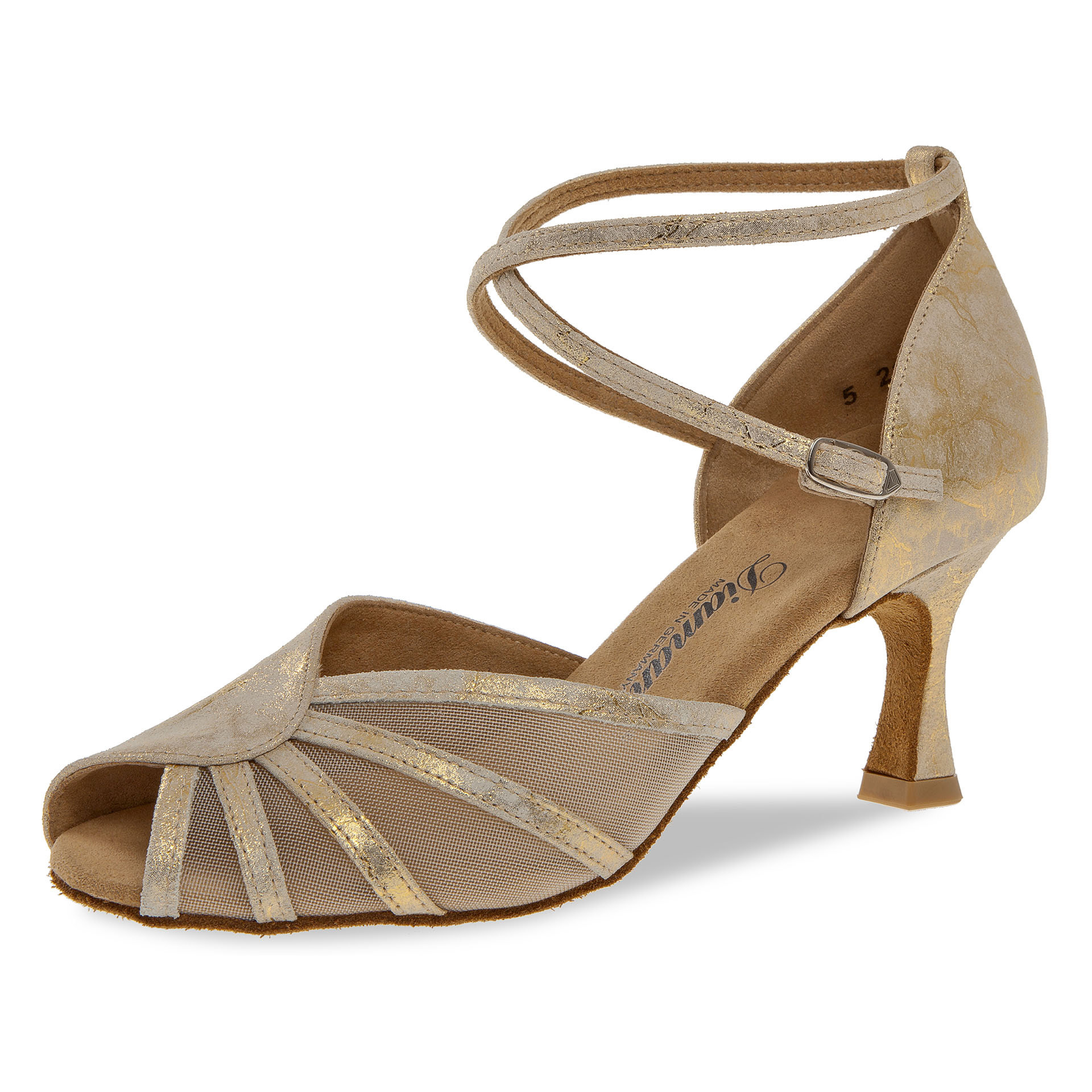 Diamant 020-087-017-Ballroom Shoes 2.5'' Suede Sole-GOLD SUEDE