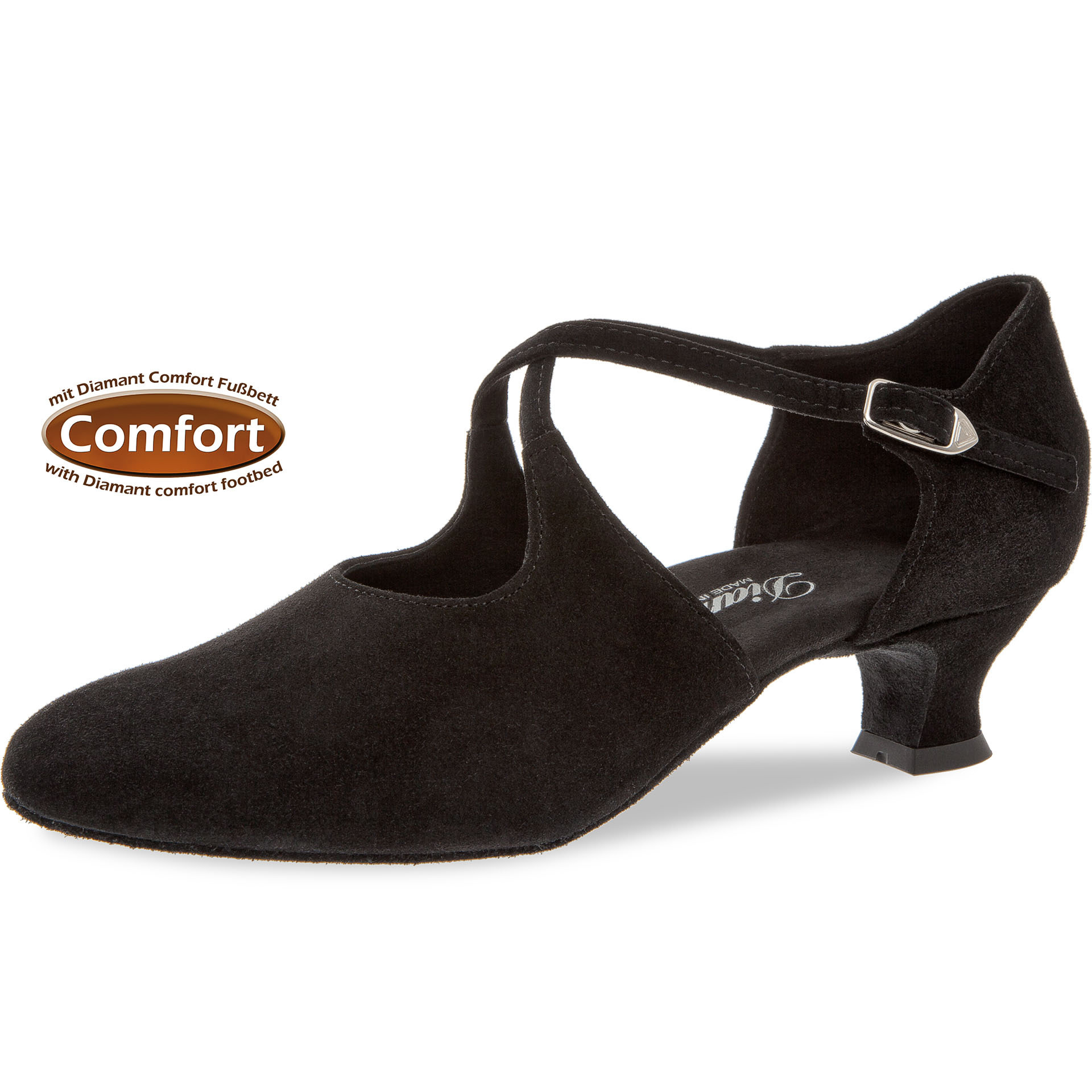 "Diamant 052-112-001-Ballroom Shoes 1.5"" Suede Sole-Extra Wide-BLACK SUEDE"