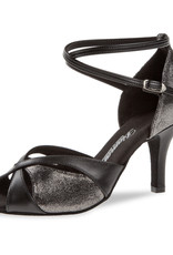 Diamant 141-058-420-Ballroom Shoes 3'' Slim Suede Sole-BLACK LEATHER / PLATINUM SUEDE