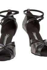 Diamant 141-058-420-Ballroom Shoes 3'' Slim Suede Sole-BLACK LEATHER / PLATINUM SUEDE