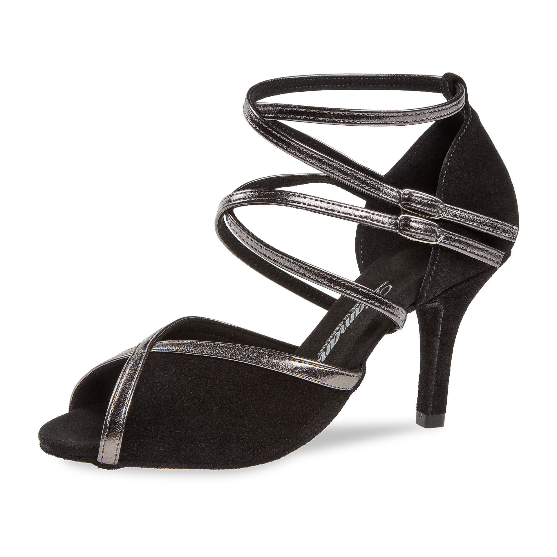 Diamant 178-058-501-Ballroom Shoes 3'' Slim Suede Sole-BLACK SUEDE / BRONZE SYNTH.
