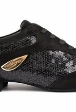 "Portdance PD01-Ballroom Shoes 1/2"" Suede Sole Denim-BLACK"