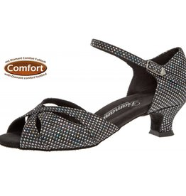 "Diamant 144-011-183-Ballroom Shoes 1.5"" Suede Sole-BLCK/SILVER HOLOGRAM"