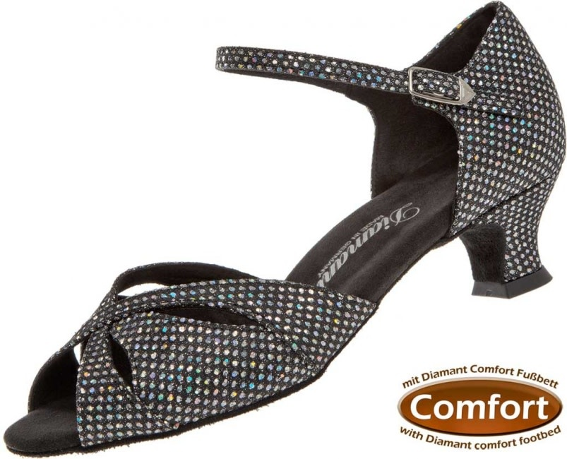 "Diamant 144-011-183-Ballroom Shoes 1.5"" Suede Sole-BLCK/SILVER HOLOGRAM"