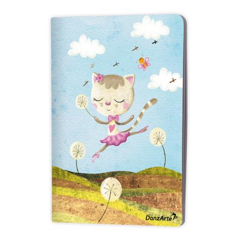 """DanzArte NO-A6-MPA02-""""Dancing Cat On Meadow"""" A6 Matt Laminated Notebook (3.5""""X5.5"""")"""